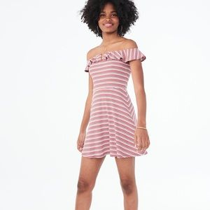 ❤️ Purple, White, Pink Striped Ruffle Dress